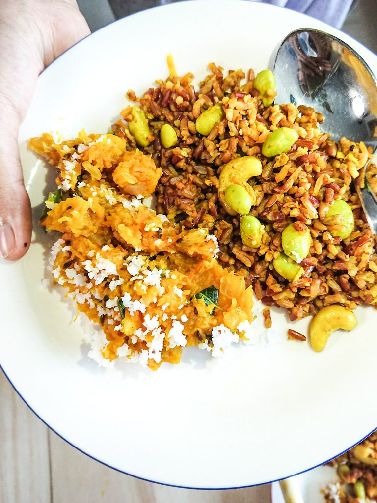 mashed pumpkin served with flavored rice