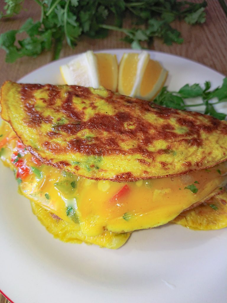 omelet with turmeric and vegetables - go healthy ever after